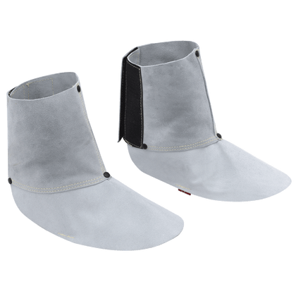 """• 6"""" spat  • Pearl grey heat-resistant rugged side-split cowhide  • Hook and loop closure, elastic instep  • Kevlar® stitched for durability  • Reinforcing rivets at stress points"""
