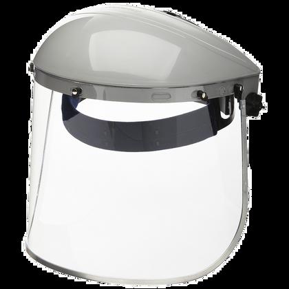 Clear Aluminum Bound Polycarbonate Face Shield, Ratchet Headgear