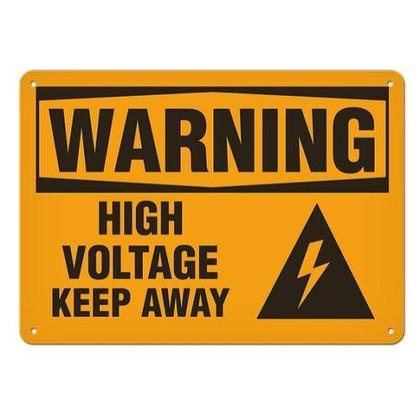 OSHA Safety Sign   Warning Voltage Keep   Incom