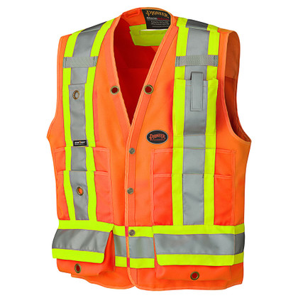 Hi-Vis Surveyor Safety Vest - CSA, Class 2, 150D - Pioneer Startech - 6692 Orange
