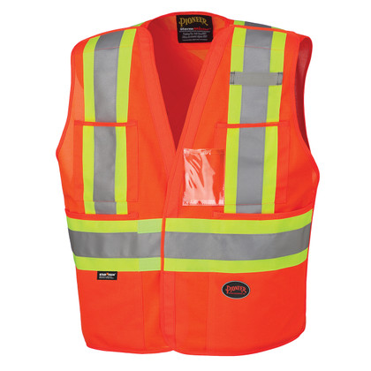 Hi-Vis Adjustable Tear-Away Safety Vest   CSA, Class 2   Pioneer