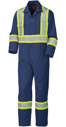 Hi-Vis Cotton Safety Coverall (Reg/TALL) - CSA, Class 1 & 3 - Pioneer 5516 Navy