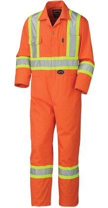 Hi-Vis Cotton Safety Coverall (Reg/TALL) - CSA, Class 1 & 3 - Pioneer 5514 Orange