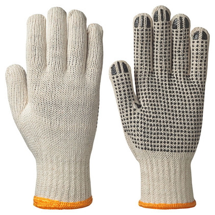 Knitted Poly/Cotton Glove with PVC Dots on Palm 12 Pk Pioneer 501 Unbleached