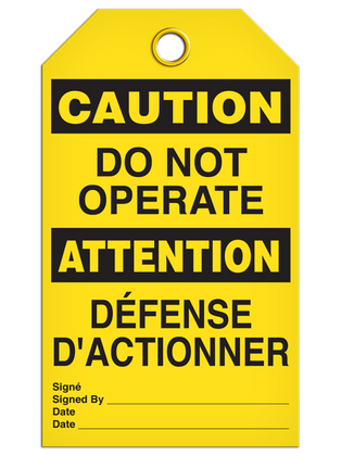 Bilingual Caution – Do Not Operate  | Pack of 25 | Incom