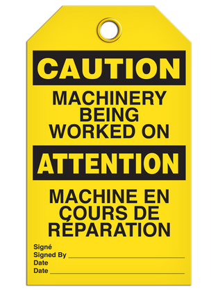 Bilingual Caution – Machinery Being Worked On Tag   | Pack of 25 | Incom