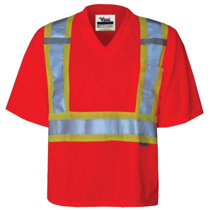 Hi-Vis Journeyman V-Neck Safety T-Shirt - CSA, Class 2 - Viking - 6005O
