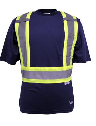 Hi-Vis Cotton-Lined Safety T-Shirt - CSA, Class 2 - Viking 6000N Navy