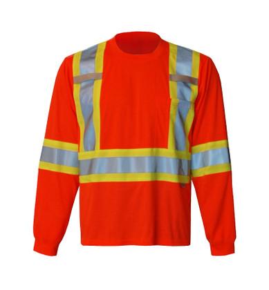 Hi-Vis Long Sleeve Safety Shirt - CSA, Class 2 - Viking 6010O