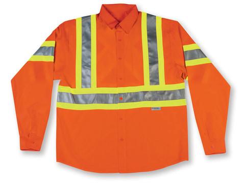Hi-Vis 100% Cotton Button-Up Safety Shirt - CSA, Class 2 - Big K - 555ORG