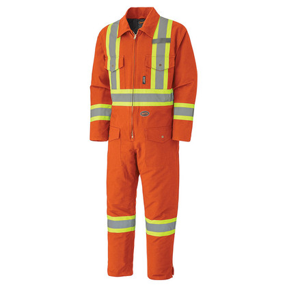 Hi-Vis Quilted Duck Safety Coverall - CSA, Class 1 - Pioneer - 5540A ORANGE