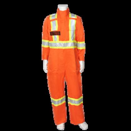 "CSA Striped High Visibility FR Coveralls - 7 oz. Westex® by Milliken® Flame Resistant Fabric - 88% Cotton / 12% Nylon - 3M ScotchliteTM 4"" Flame Resistant Safety Stripes, 15"" Leg Zipper   Viking® Firewall FR®  "