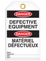 Bilingual Danger – Defective Equipment Tag  | Pack of 25 | Incom