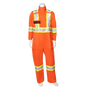 "CSA Striped High Visibility FR Coveralls - 7 oz. Westex® by Milliken® Flame Resistant Fabric - 88% Cotton / 12% Nylon - 3M ScotchliteTM 4"" Flame Resistant Safety Stripes 