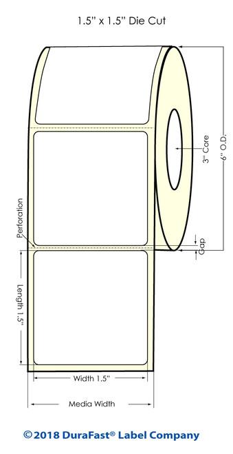 "LX900 1.5"" x 1.5"" High Gloss Paper Inkjet Labels 1500/Roll"