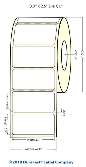 "LX900 3"" x 2.5"" High Gloss Paper Inkjet Labels 950/Roll"
