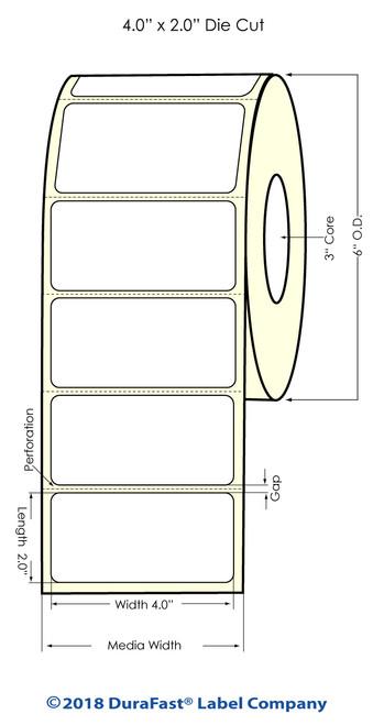 "LX900 4"" x 2"" High Gloss Paper Inkjet Labels 1100/Roll"