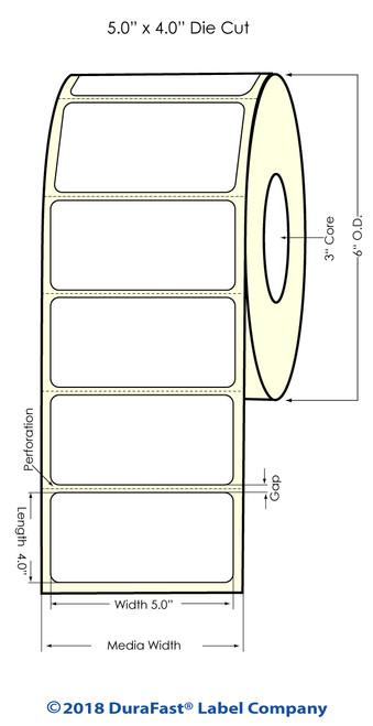 "LX900 5"" x 4"" High Gloss Paper Inkjet Labels 600/Roll"
