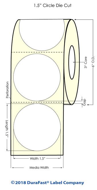 "LX900 1.5"" Circle High Gloss Paper Inkjet Labels 1500/Roll"