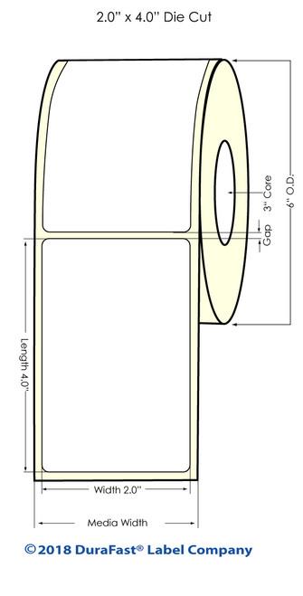 "LX900 2"" x 4"" NP High Gloss Paper Inkjet Labels 600/Roll"