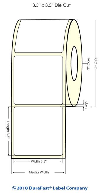 "LX900 3.5"" x 3.5"" NP High Gloss Paper Inkjet Labels 650/Roll"