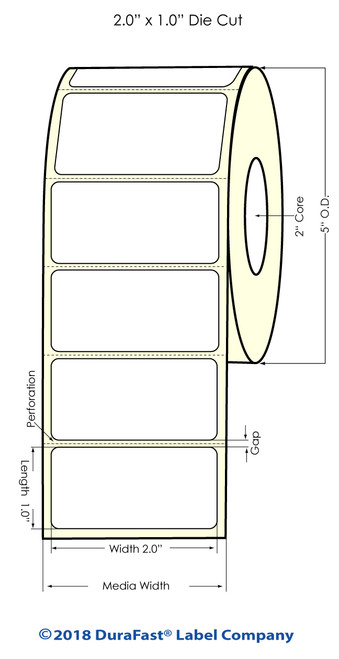"""LX500 2"""" x 1"""" Matte BOPP Inkjet Labels 1700/Roll"""