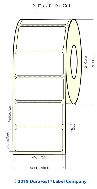 """LX500 3"""" x 2"""" Matte BOPP Inkjet Labels 900/Roll"""