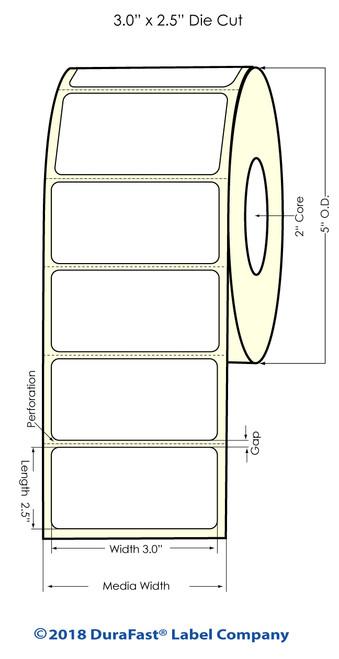"""LX500 3"""" x 2.5"""" Matte BOPP Inkjet Labels 750/Roll"""