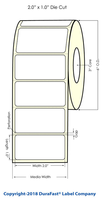 """LX900 2"""" x 1"""" Clear Polyester Inkjet Labels 2300/Roll"""