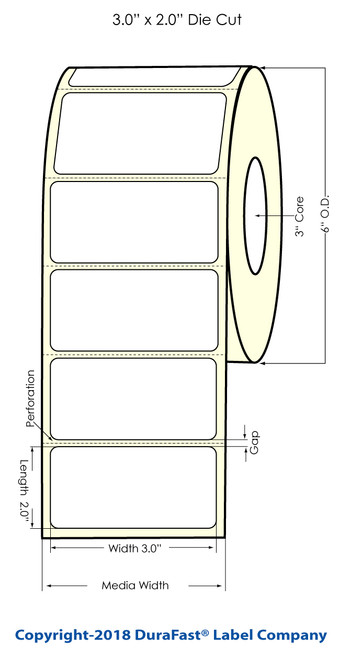 """LX900 3"""" x 2"""" Clear Polyester Inkjet Labels 1200/Roll"""