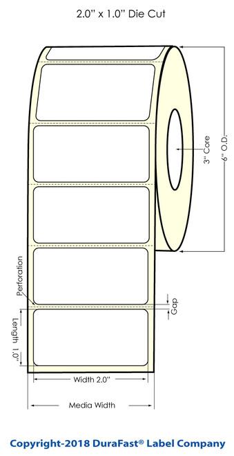 """LX900 2"""" x 1"""" Matte BOPP Inkjet Labels 2100/Roll"""