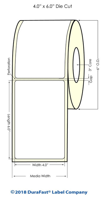 """LX900 4"""" x 6"""" Matte BOPP Inkjet Labels 375/Roll"""