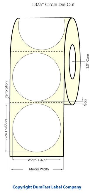 "LX810 1.375"" Circle White High Gloss, 1700 Labels/roll - 74886c"