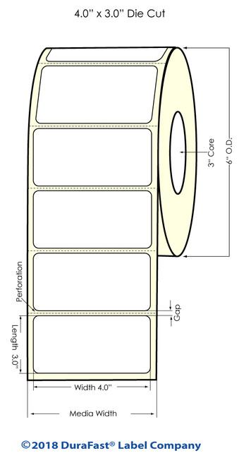 "LX500 4"" x 3"" Matte Paper Inkjet Labels 600/Roll"