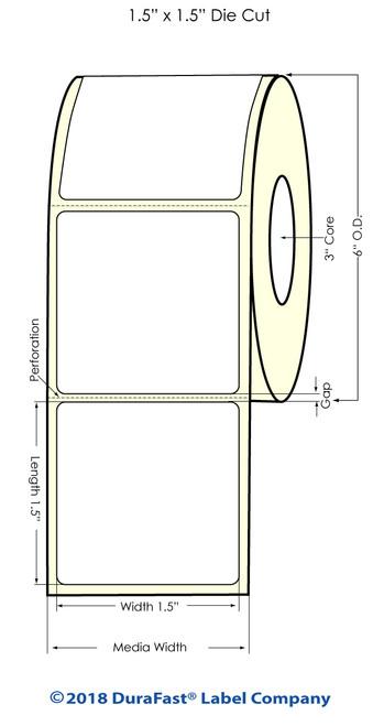 "LX900 1.5"" x 1.5"" Matte Paper Inkjet Labels 1400/Roll"