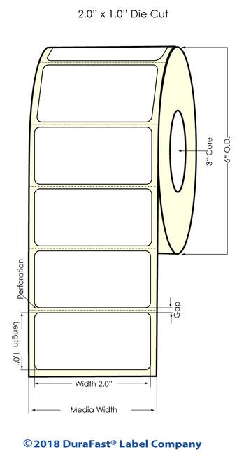 "LX900 2"" x 1"" Matte Paper Inkjet Labels 2200/Roll"