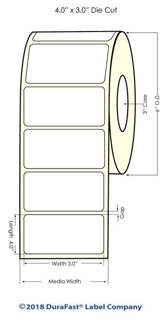 "LX900 4"" x 3"" NP Matte Paper Inkjet Labels 800/Roll"