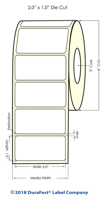 """LX900 2"""" x 1"""" Silver Polyester Inkjet Labels 2300/Roll"""