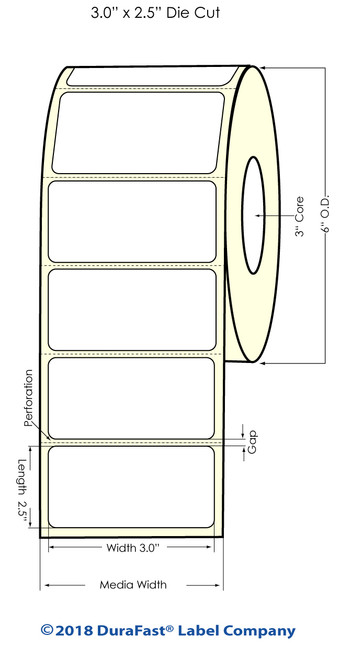 """LX900 3"""" x 2.5"""" Silver Polyester Inkjet Labels 1000/Roll"""