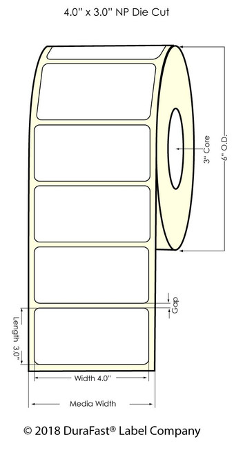 """LX900 4"""" x 3"""" NP Silver Polyester Inkjet Labels 800/Roll"""
