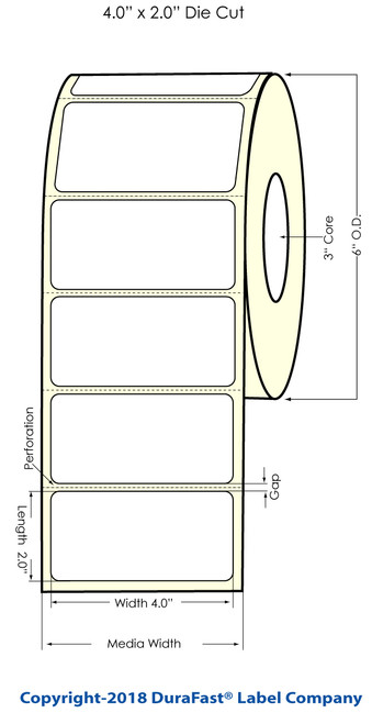 """LX900 4"""" x 2"""" Gold Polyester Inkjet Labels 1200/Roll"""