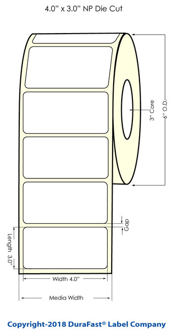 """LX900 4"""" x 3"""" Gold Polyester Inkjet Labels 800/Roll"""