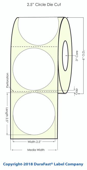 "TM-C7500G 2.5"" Circle Gold Polyester Inkjet Labels 900/Roll"