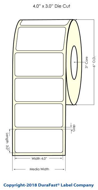 """LX900 4"""" x 3"""" NP Matte BOPP Inkjet Labels 800/Roll"""