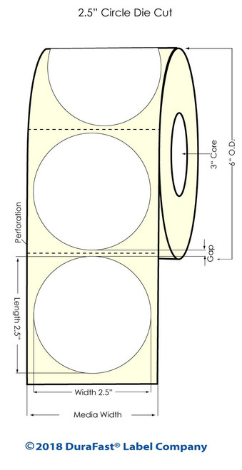 "LX900 2.5"" Circle Matte BOPP Inkjet Labels 900/Roll"