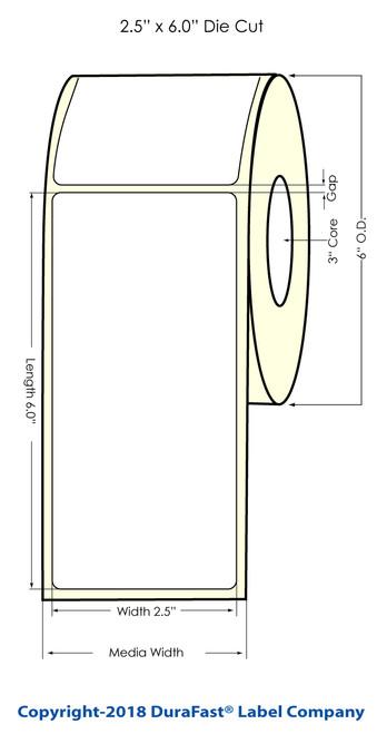 """LX900 2.5"""" x 6"""" NP Matte BOPP Inkjet Labels 375/Roll"""