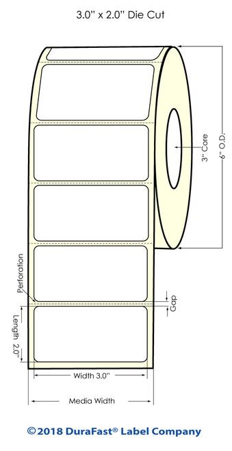 "LX900   LX810   LX800   3"" x 2"" White Glossy Polypropylene (BOPP) Labels"