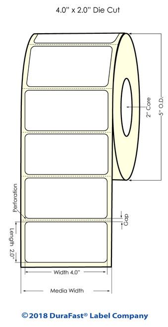 "LX400 | LX200 | 4"" x 2"" White Glossy Polypropylene (BOPP) Labels"