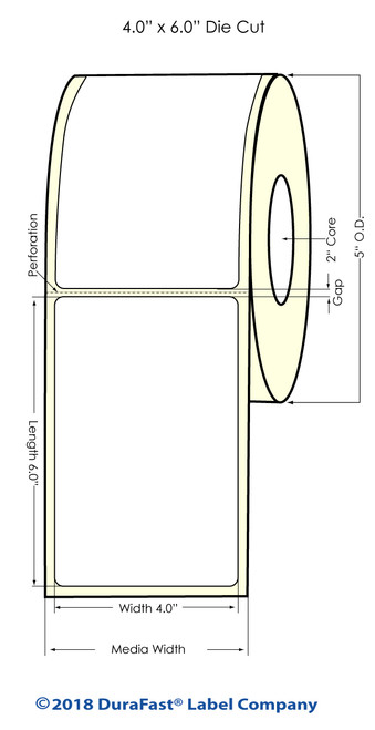"LX400 | LX200 | 4"" x 6"" White Glossy Polypropylene (BOPP) Labels"