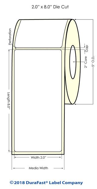 "LX400 | LX200 | 2"" x 8"" White Glossy Polypropylene (BOPP) Labels"